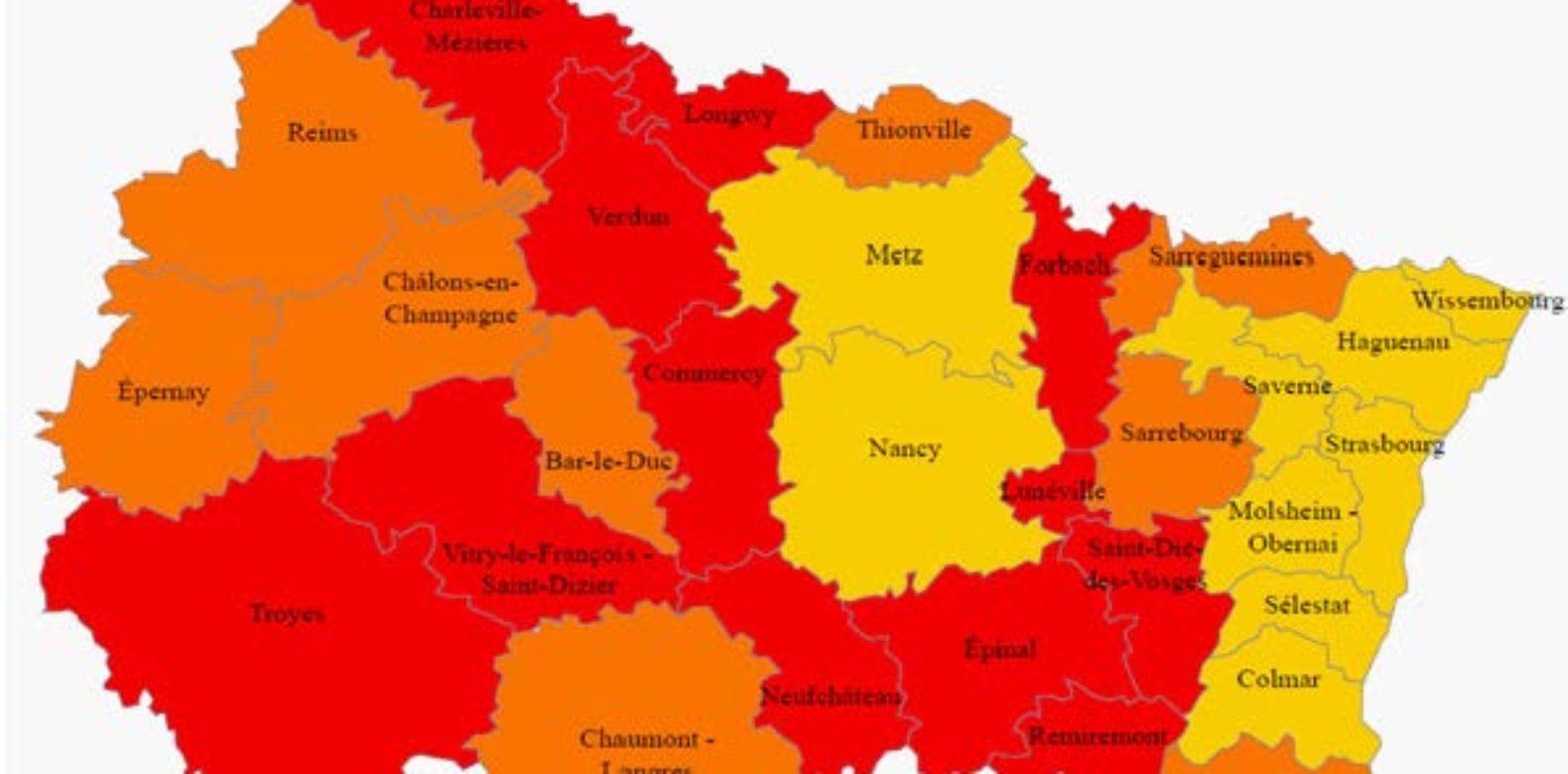 Situation des 31 zones d'emploi du Grand Est